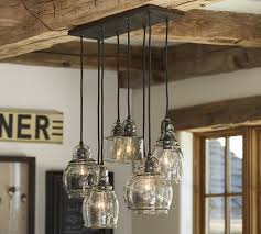 Image Ceiling Lights Pottery Barn Paxton Glass 8light Pendant Pottery Barn
