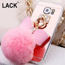 samsung galaxy s5 girly phone cases. cool rabbit fur ball bowknot metal ring case for samsung galaxy s7 /s7 edge/ s6 /s6e/s3/s4/s5 soft tpu mirror girly cover phone cases camo cell s5 a