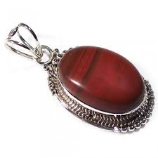 30x11mm red jasper gemstone drop pendant with silver plated bail inner diameter 6x2mm