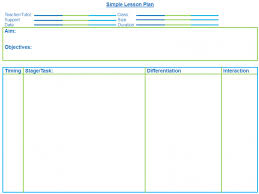 Template For Lesson Plan Very Simple Blank Lesson Plan Template For Secondary