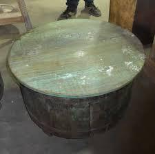 k62 40254 indian furniture coffee table storage round blue