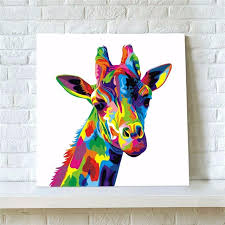 1pc new modern abstract animal colors giraffe oil painting canvas painting wall picture art for home