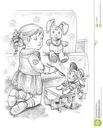 Disegno Grafico Di Una Bambina Che Gioca Con La Bambola