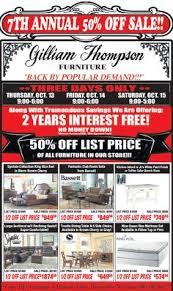 Furniture sale advertisement Furniture Showroom 50 Off Sale Gilliam Thompson Furniture Pinterest 36 Best Monthly Furniture Sales Ads Images Furniture Sale Ads