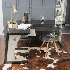 tempered glass office desk. Oria L-Shape Tempered Glass Office Desk By Christopher Knight Home
