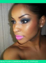 navy y eye bright pink lips