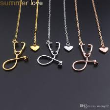 fashion medical stethoscope necklace jewelry alloy i love you heart pendant necklace for nurse doctor gifts whole stethoscope necklace necklace for