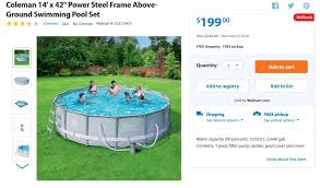 above ground pool walmart. If You\u0027re In The Market For An Above-ground Pool, Check Out This Deal From Walmart! Coleman 14\u2032 X 42\u2033 Power Steel Frame Above-Ground Swimming Pool Set Above Ground Walmart
