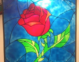 beauty and the beast enchanted rose stained gl suncatcher window panel disney large