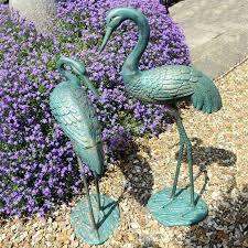 outdoor cast aluminum crane statue for