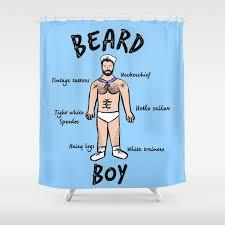 beard boy sailor style shower curtain