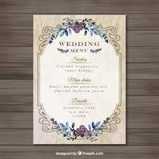 Vintag Wedding Menu Template Vector Free Download