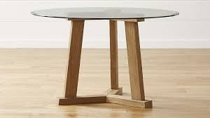 glass and wood dining table. teak reclaimed wood round dining tables with glass tops | crate and barrel table