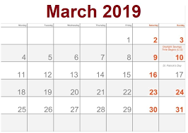 March 2019 Calendar With Holidays Printable Notes Template Blank ...