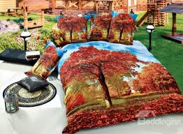 flourishing red maple tree print 4 piece cotton duvet cover sets