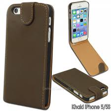 khaki faux suede stitched flip case for apple iphone 5 5s se leather cover