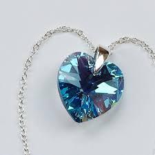 swarovski elements aquamarine heart