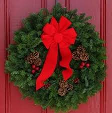 Maine Balsam Christmas Wreath With Real Pine Cones and Big Red Bow ...
