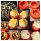 baked stuffed tomatoes topped with mashed potato