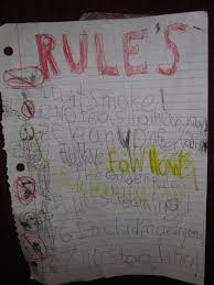 bedroom rules. fowllow the golden rule 5 no screaming seems like they should have not put exclamation point on that one or it bedroom rules e