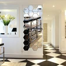 modern creative silver mirror geometric hexagon acrylic wall lovely dame decor notre unique canvas art fresh
