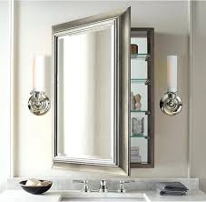 elegant tubular wall lamps and perfect large mirrored wall cabinet for classic bathroom plan with shining chrome faucet
