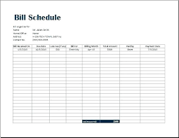 Bill Organizer Sheet Monthly Bill Organizer Template Free Excel