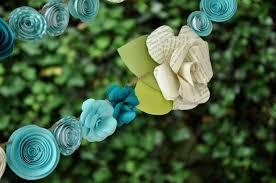White Paper Flower Garland Wedding Garland Paper Flower Garland Teal And White Flowers 9 Feet