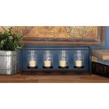 4 glass black metal candle holder