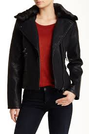 image of steve madden faux fur trim faux leather jacket