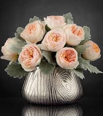 woodland beauty luxury rose bouquet vase of juliet garden roses and dusty miller
