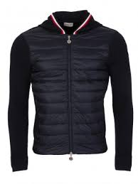 moncler navy knitted hooded puffa jacket