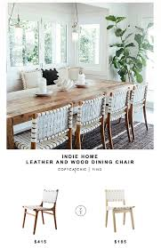 in home wood and leather dining chair