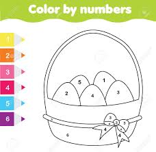 View and print full size. Easter Drawing Game Color By Numbers Printable Worksheet Coloring Royalty Free Cliparts Vectors And Stock Illustration Image 97126513
