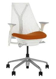 stylish home office chairs. mesh back home office chair in white with amber seat stylish chairs