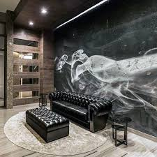 man cave furniture black leather couch