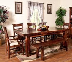 seven piece dining set:  piece extension table with chairs and bench set