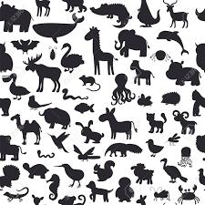 黒い動物シルエットのシームレスなパターンかわいい背景ベクトル図