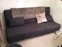ikea beddinge lovas three seat sofa bed dark grey with two rectangular cushions