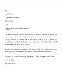 Sample Letter Response To Job Rejection Ameliasdesalto Com