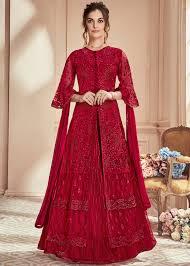 Red Net Dress Design Maroon Embroidered Kurti Style Net Lehenga Choli