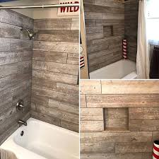 Bathtub enclosure ideas White Subway Custom Wood Looking Tile Tub Surround Farmhouse Style And Ideas Bathroom Design Bathtub Tile Surround Ideas Botscamp Impressive Bathtub Surrounds Tub Surround Ideas Tile Amazing Small
