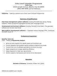 Sample Computer Programmer Resume Entry Level Computer Programmer Resume The Resume Template