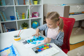 Home office colorful girl Glam Pretty Little Child Girl Painting Winter With Colorful Paint At Home Stock Photo 89759449 123rfcom Pretty Little Child Girl Painting Winter With Colorful Paint Stock