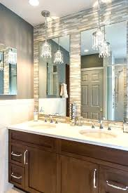 pendant lighting over bathroom vanity. Bathroom Pendant Lights Crystal  Transitional With Stacked Glass Tile Mirror . Lighting Over Vanity I