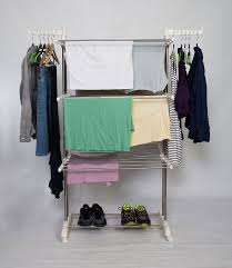 idee freestanding collapsible height adjule rack rolling 3 tier clothes laundry
