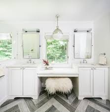 double vanity with makeup table. vanity makeup table bathroom transitional with double sinks herringbone tile his and hers pendant light i