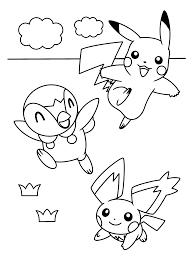 Pokemon Paradijs Kleurplaat Pikachu Piplup En Pichu