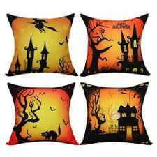 <b>Halloween</b> Theme <b>Pillow</b> Covers <b>Halloween</b> Cat and <b>Castle Throw</b> ...