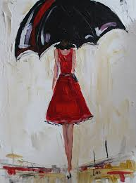 custom made sold umbrella girl in red acrylic painting sold